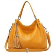 SS Leathers Women Yellow Genuine Leather Hand-held Bag