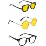 INSH Round, Retro Square, Cat-eye Sunglasses(Yellow, Clear)