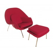 Replica Womb Chair And Ottoman - Red Cashmere