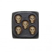"""5 pcs Skull face Gaming dice,Collectibles Large Decorative 0.7"""" Cube Scary Novelty Game Pieces with Golden Skulls Gothic Accessory Prop, Black"""