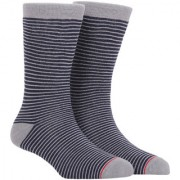 Soxytoes Strip Me Down Grey Cotton Calf Length Pack of 1 Pair Striped for Men Athletic Sports Socks (STS0041C)