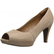 Clarks Women's Narine Rowe Platform Pump, Sand Snake Print Leather, 6. 5 W US