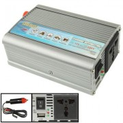 300W DC 12V to AC 220V Car Power Inverter with USB Port and Car Charger(Silver)