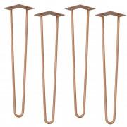 [en.casa]® Štýlové stolové nohy 2 – sada nôh (4 kusová) - 61 cm - bronzové