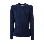 Lexington Andrew Cable Sweater Herr, L, Deep Blue/