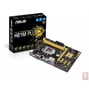 Asus H81M-PLUS, Intel H81, VGA by CPU, PCI-Ex16, 2xDDR3, SATA3, VGA/DVI/HDMI/USB3.0, mATX (Socket 1150)