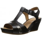 Clarks Women's Black Leather Fashion Sandals - 7 UK/India (41 EU)
