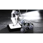 Set argint cu zircon Blue Queen
