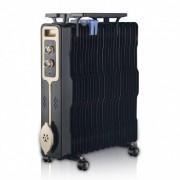 Радиатор ZEPHYR ZP 1971 G13, 2500W, 13 ребра, 3 степени, Поставка за дрехи, Регулируем термостат, Черен
