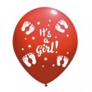 Balon latex it's a girl imprimat global rosu 30cm