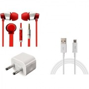 Jiyanshi Combo Of 2A Wall Charger & Stylish Earphone Red Compatible With Oppo N1