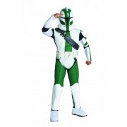 Rubies Costumes 211414 Star Wars The Clone Wars - Clone Trooper Commander Gree Child Costume - White-Green - Large
