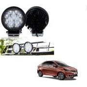 Auto Addict DEVICE 4 inch 9 LED 27Watt Round Fog Light with Flood Beam Auxiliary Lamp Set Of 2 Pcs For Tata Tigor