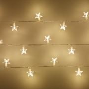 Guirlande Lumineuse 30 Étoiles LED Blanc Chaud sur Câble Transparent