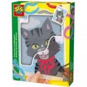 Детски креативен комплект за бродерия - Коте, SES, 080339