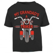 O - My Grandad is a triker motorcycle toddler baby childrens kids t-shirt 100% cotton