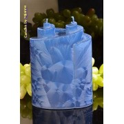 Candles by Milanne Piaf Kaars met 2 pitten, BLAUW POLYMICO, hoogte: 18 cm - kaarsen
