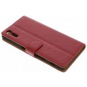 Rode kreukelleder booktype hoes voor de Sony Xperia XZ / XZs