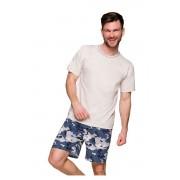 Simon rövid férfi pizsama, bézs S