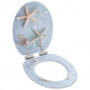 vidaXL Тоалетна седалка с плавно затваряне, МДФ капак, морски звезди