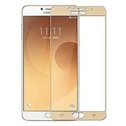 Kartik Full Covred Tempered Glass Full Screen Color Glass 2.5d For Samsung Galaxy C7 Pro - Golden