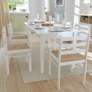 vidaXL Matstolar i vit trä Kvadratisk 6 st