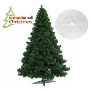 Brad artificial de Craciun, Verde Natural Atlanta Lux 150 cm cu suport Si Covor rotund din blana artificiala, diametru 122 cm, alb