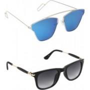 Pogo Fashion Club Wayfarer, Retro Square, Cat-eye Sunglasses(Black, Blue)