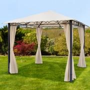 taltpartner.se Trädgårdspaviljonger 3x3m polyester med PU-beläggning 280 g/m² champagnefärgat vattentät