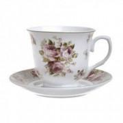 Set 6 cesti portelan ceai albe cu trandafir