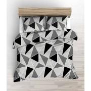 Krepp 140x220 cm pinkszínű virágos-szíves mintás 3 részes ágyneműhuzat garnitúra