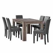 PremiumXL - [en.casa] Elegantan blagovaonski set - stol(hrast/tamno smeđa) + 6 stolica (tamno siva)