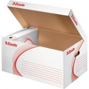 Scatole per archivio in cartone Esselte Boxi Container - 525819 Scatole per documenti in cartone 36,7x53x26,5 cm formato utile 36,2x52,5 cm dorso 26,5 cm con chiusura a coperchio di colore bianco/rosso in confezione da 10 Pz.