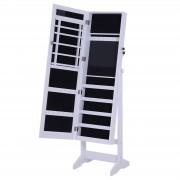 Homcom Armadio Portagioie a Specchio con 20 Luci LED, Bianco, 40x37x146 cm