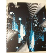 Staples Wide Ruled Durable Poly Cover Pocket Spiral Notebook ~ Night Cityscape (100 Sheets, 200 Pages, 2 Pockets)