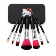 Hello Kitty Complete Makeup Mini Brush Kit With A Storage Box - Set Of 7 Pcs