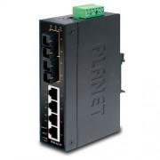 Planet Industrial 6-Port (4x 100Mbps RJ45 2x MM FX(SC)-2km Switch (-40~75C), unmanaged