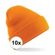 Beechfield 10x Basic winter muts oranje