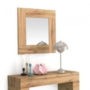 Mobili Fiver Espejo de pared cuadrado, marco de color Madera Rustica, modelo Evolution