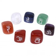 ELECTROPRIME® Engraved Crystal Chakra Healing Stones Set of 7 Tumbled Reiki Palm Stone