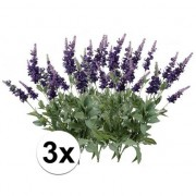 Bellatio flowers & plants 3x Lavendel kunstbloemen tak 45 cm