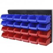vidaXL Nástěnný organizér na nářadí do dílen 2 ks , modrý a červený