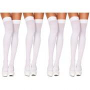 Neska Moda Women 4 Pair Nylon White Thigh Highs Stockings STK8 4Set