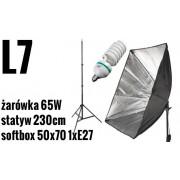 L7 ZESTAW: Lampa światła ciągłego + softbox 50x70cm na 1xE27 +żarówka 65W
