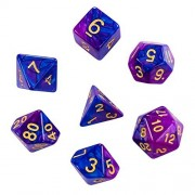 Ifergoo 7-Die Dice Set by, Polyhedral Gaming Two Colors for Dungeons and Dragons DND RPG MTG Board Games Complete of 7 Purple Blue