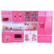 ALFISHER Barbie Dream House Kitchen Set Light Sound With Gas Refrigerator Oven Cutlery Utensils Microwave