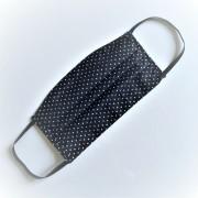 Textil, mosható, 2 rétegű szájmaszk - Fehete pöttyös