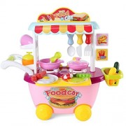 Serve N Go Kitchen Food Cart on Wheels Portable Pretend Play Children Cooking Kit stove utensils Food Great Educational Play