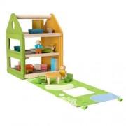 Plan Toys Drewniany domek dla lalek z matą do zabawy - trzypiętrowy domek + laleczki + mebelki