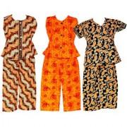 Wajbee Swank Girls Cotton Night Suit Set of 3